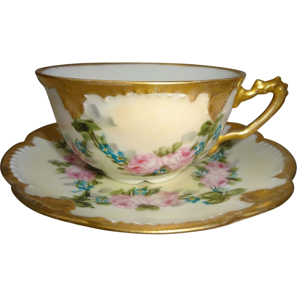 Antique French Limoges Hand Painted Cup Saucer Pink Roses Signed