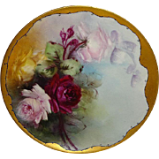 Vintage French Haviland Limoges Plate Hand Painted Burgundy ROSES Artist Signed Jennings