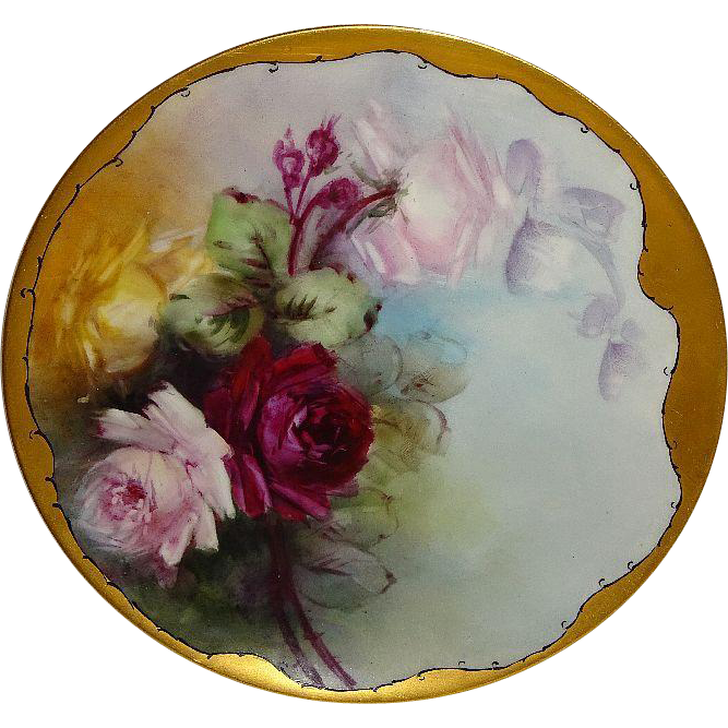 French Haviland Limoges Plate Hand Painted ROSES Signed Jennings