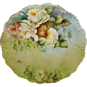 French Limoges Antique Plate Hand Painted Sweetheart Roses