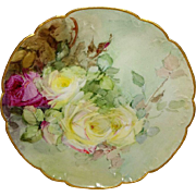 Vintage Haviland French Limoges Plate Hand Painted Roses Signed