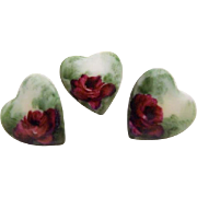 3 Vintage Heart Shaped Porcelain Buttons Studs Hand Painted Roses
