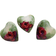 3 Heart Shape Porcelain Buttons Studs Hand Painted Tea Roses