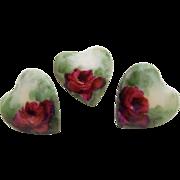 3 Heart Shape Porcelain Buttons Studs Hand Painted Tea Roses