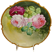 Antique French Limoges Plaque Charger with Hand Painted Pink Tea Roses