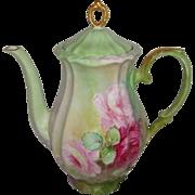 Vintage German Bavaria Coffee Pot with Hand Painted Pink Roses