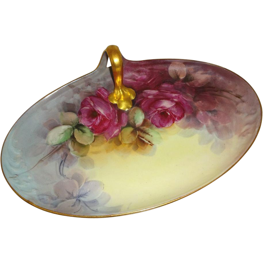 Vintage French Guerin Limoges Tray with Hand Painted Crimson Roses