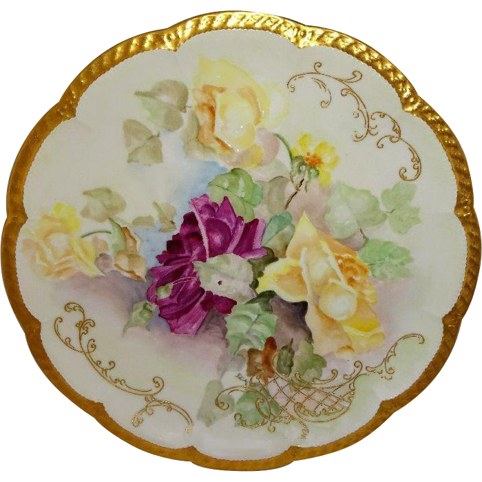 Antique French Haviland Limoges Charger Hand Painted Roses Signed