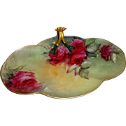 Guerin French Limoges Split Handle Tray Hand Painted Scarlet Roses