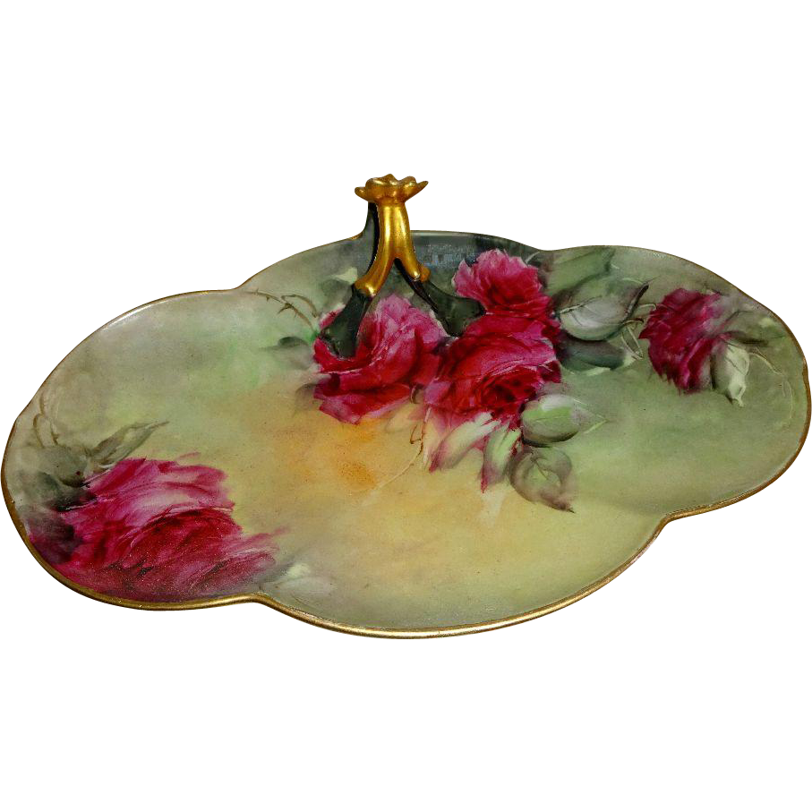 Vintage French Limoges Split Handle Tray with Hand Painted Red Roses
