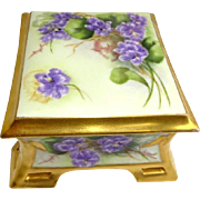 Antique French Coiffe Limoges Jewelry Trinket Box with Hand Painted Violets