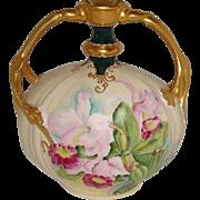 French Vintage Limoges Vase Hand Painted Pink Orchids Gilded Design Pink Enamel Jewels