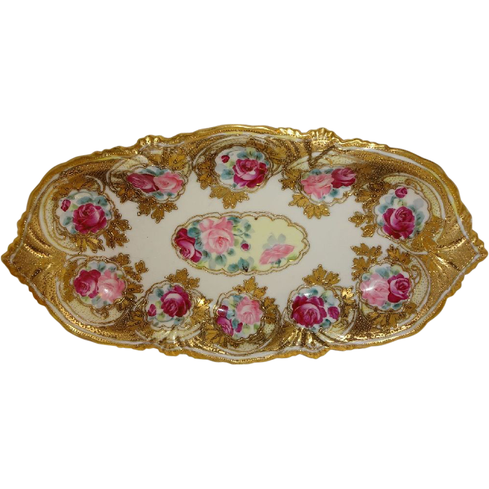 Vintage Japanese Nippon Bowl ROSES Ornate Raised Gilded Design