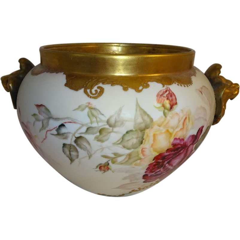 Antique French Limoges Jardiniere Vase Hand Painted Roses  Lion Handles