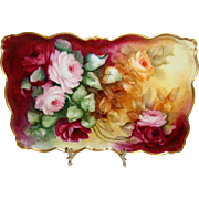 Hand Painted Artist Signed Porcelain Tray Roses Artist Signed