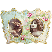 French Antique Limoges Double Porcelain Frame Hand Painted Tea Roses