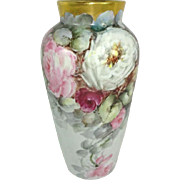 Antique German Porcelain Hand Painted Vase Multicolored Roses