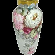 Antique German Porcelain Hand Painted Vase Multicolored Roses