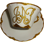 French Haviland Limoges Jeweled Cup Saucer Coin Gold Beading