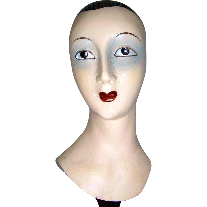 Vintage Hand Carved Wood Millinery Hat Stand Display Sculptured Mannequin Bust