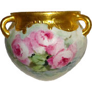 Petite Hanging Vase Jardiniere Hand Painted Pink Roses Gilded Border