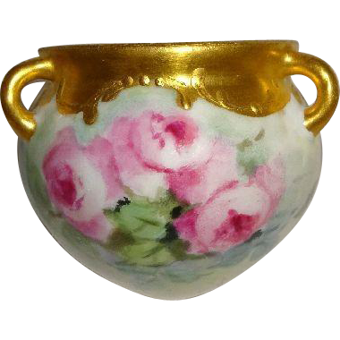 Petite Hanging Vase or Jardiniere with Hand Painted Pink Sweetheart Roses - Ornate Gilded Border - Only Fine Lines