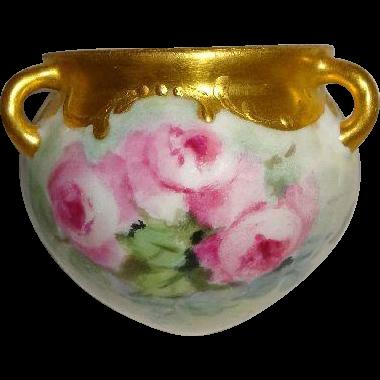 Petite Hanging Vase Jardiniere Hand Painted Pink Roses Gilded Border