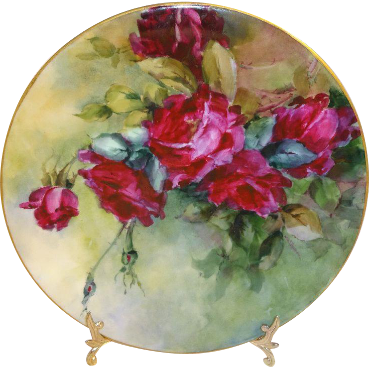 Antique French Limoges France Hand Painted Artist Signed Plate Ruby Red Roses Circa 1907