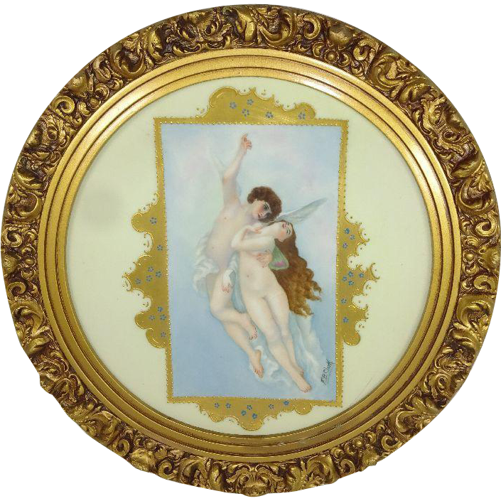 Antique French Limoges Portrait Figural Plaque Charger Artist Signed