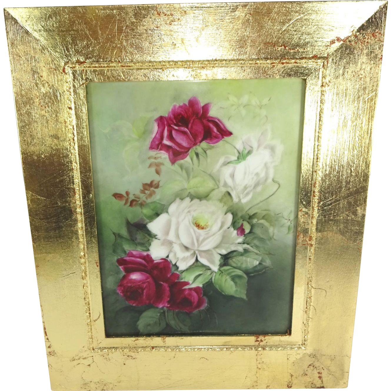Antique French Limoges Framed Plaque Hand Painted Roses