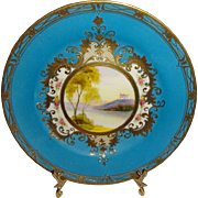 Vintage Japanese Nippon Japan Scenic Plate with Highly Ornate Gilded Design