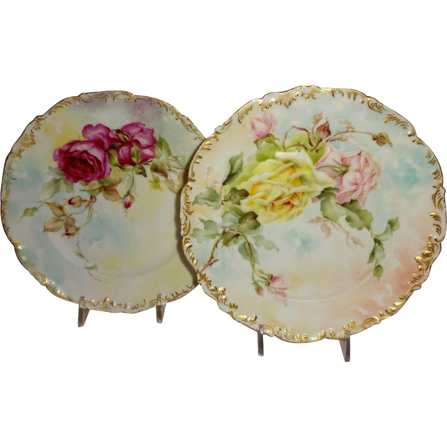 2 French Limoges Antique Plates Hand Painted Roses Artist Signed