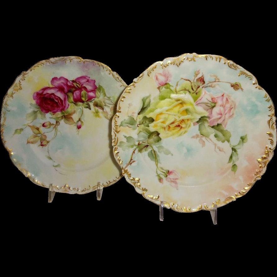 2 T&V Limoges France Antique Plates Expertly Hand Painted Roses Artist Signed