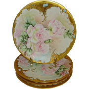 4 Antique French Limoges France Plates Hand Painted Pink Roses Gilded Borders Blue Jewel Dated 1902