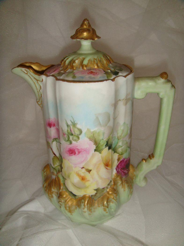 Antique French Limoges France Chocolate Pot Hand Painted Tea Roses