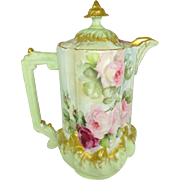 Antique French Limoges, France Chocolate Pot Hand Painted Tea Roses