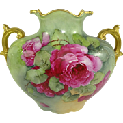 Vintage French JPL Limoges Pillow Vase Hand Painted Pink Roses