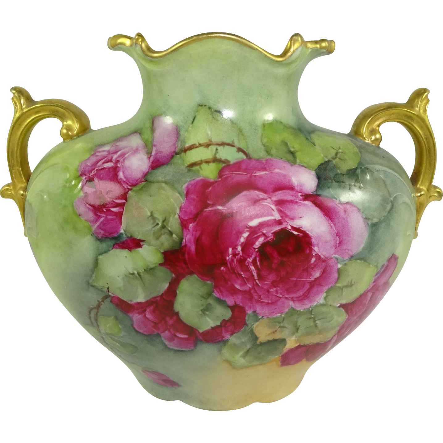 Vintage French Jpl Limoges Pillow Vase Hand Painted Pink Roses From Onlyfinelines On Ruby Lane