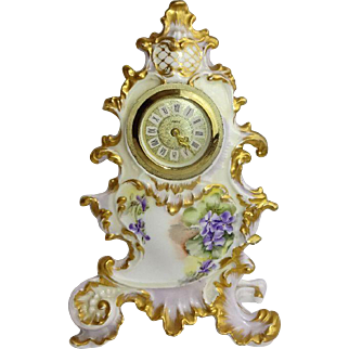 French Antique Limoges Porcelain Clock Hand Painted Purple Violets