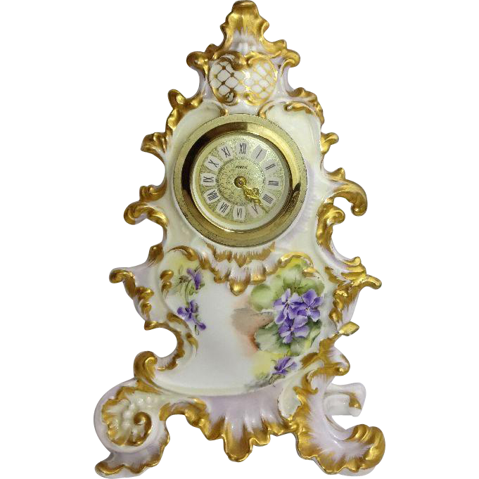 French Antique Limoges Porcelain Clock Hand Painted Purple Violets