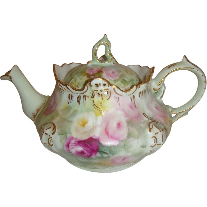 Antique German Bavaria Rosenthal Teapot with Hand Painted Roses