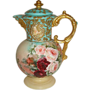 """Rare"" Antique Austria Hand Painted Chocolate Pot with FACE ROSES and Amazing Gilded Art Work"