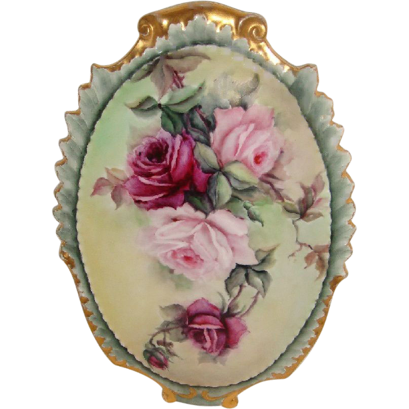Stunning Antique French Limoges Plaque Hand Painted Pink Tea Roses