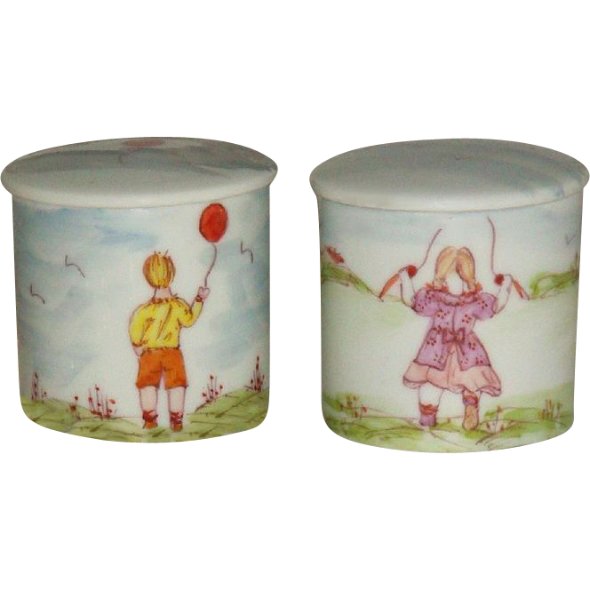 French Antique Limoges Hand Painted Scenic Figural Vanity Jars