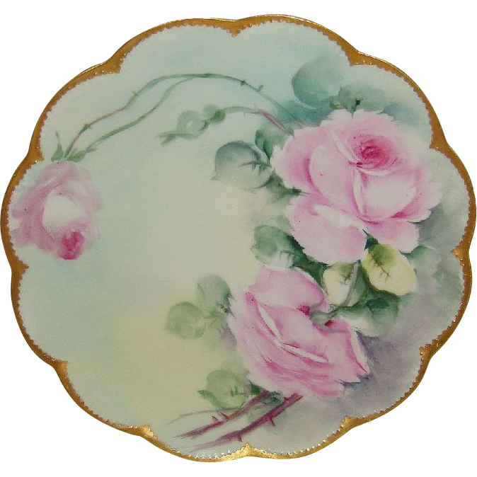 Vintage Haviland Limoges France Plate Hand Painted Pink Roses