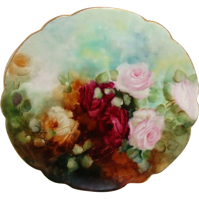 Antique French Limoges Plate Hand Painted Romantic Crimson ROSES