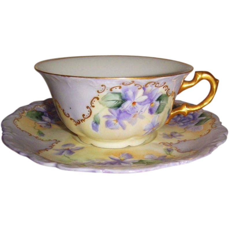 Vintage French Limoges Tea Cup Saucer Hand Painted Purple Violets