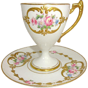Antique French Limoges Cup Saucer Hand Decorated Pink Roses