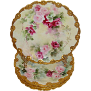 4 French Antique Limoges France Hand Painted Plates with Pink Roses