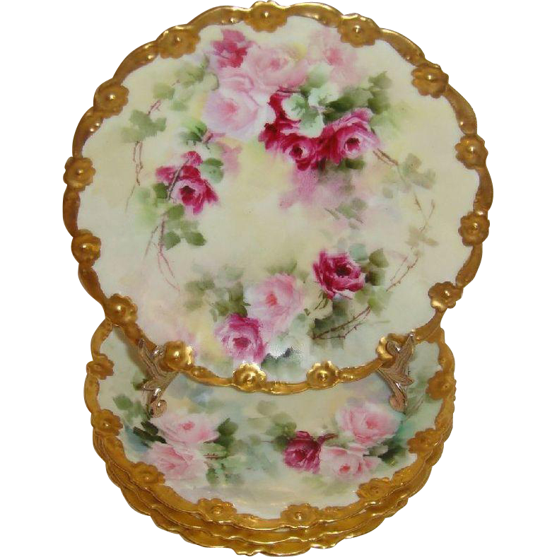 4 French Antique Limoges France Hand Painted Plates Pink Tea Roses